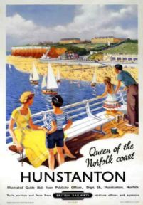 Hunstanton, Queen of the Norfolk Coast. Vintage BR Travel poster by William Fryer.